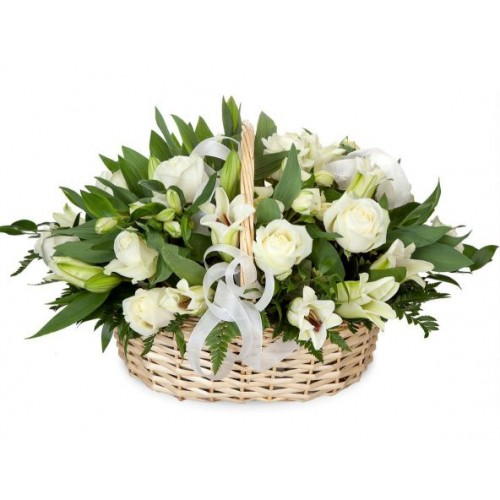 Кошик з лілії і білих троянд Богема