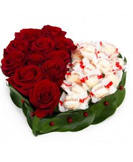 Серце з червоних троянд і Рафаелло № 6