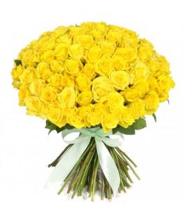 Букет 101 жовта троянда
