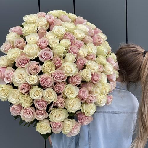 Букет з 101 білої і рожевої троянди