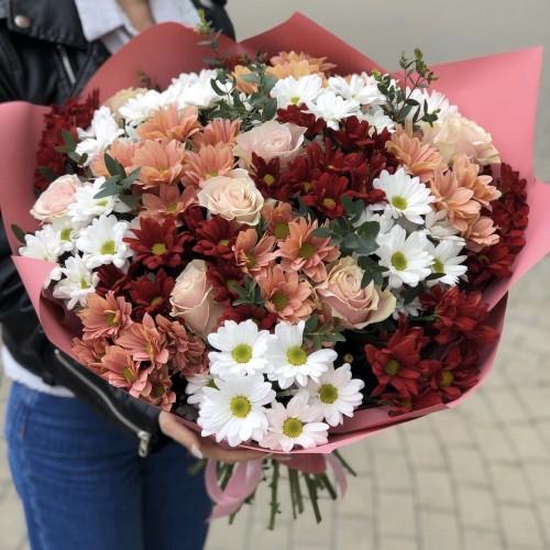 Букет Ювілейний з рожевими трояндами