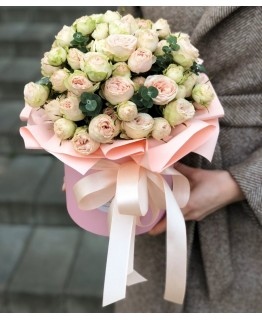 Коробка з кущовими трояндами Приємного дня