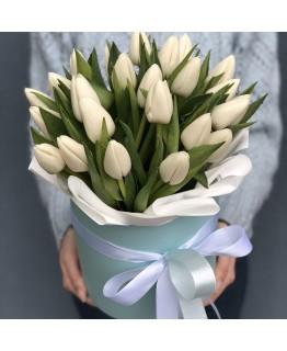 Коробочка з білими тюльпанами Білка
