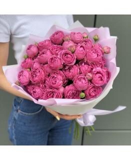 Букет Рожеві солодощі з піоновидних троянд